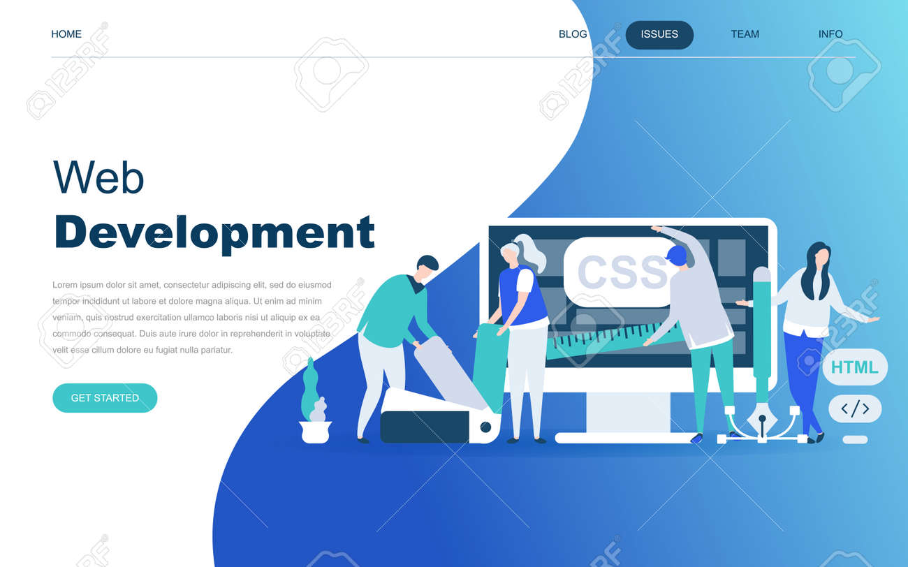 Modern Flat Design Concept Of Web Development For Website And Royalty Free Cliparts Vectors And Stock Illustration Image 108579444