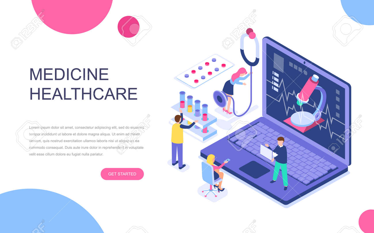 Modern Flat Design Isometric Concept Of Online Medicine And Healthcare Royalty Free Cliparts Vectors And Stock Illustration Image 140162830