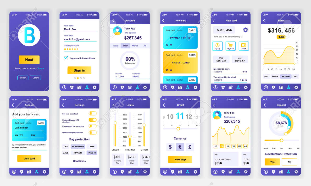 Set of UI, UX, GUI screens Banking app flat design template for