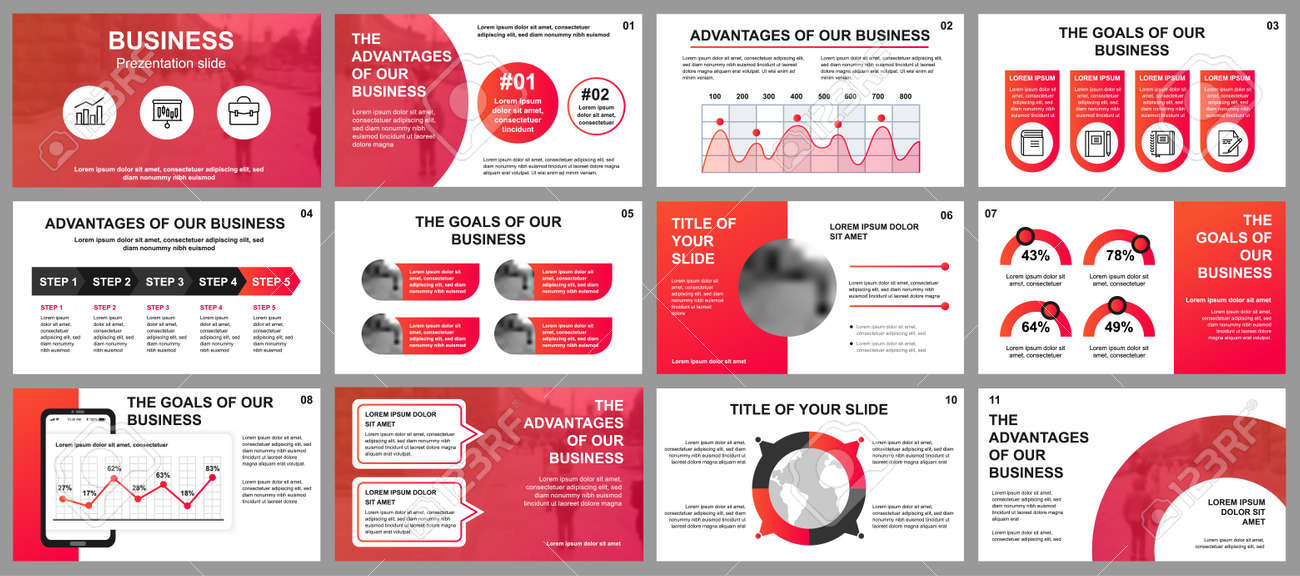 Business presentation slides templates from infographic elements. Can be used for presentation template, flyer and leaflet, brochure, corporate report, marketing, advertising, annual report, banner. - 122118240