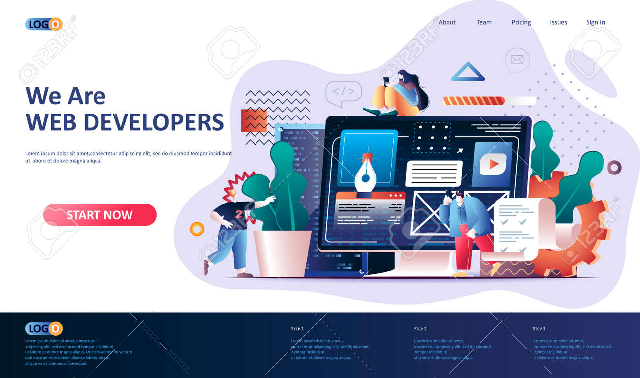 Web development flat landing page template. Website construct, prototyping and programming web banner. UI UX designer workplace 3d composition, development company. Web page vector illustration. - 155578373
