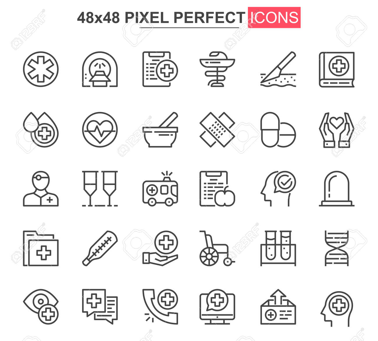 Medical service thin line icon set. Online consultation outline pictograms for website and mobile app GUI. Diagnosis and treatment simple UI, UX vector icons. 48x48 pixel perfect pictogram pack. - 157430506