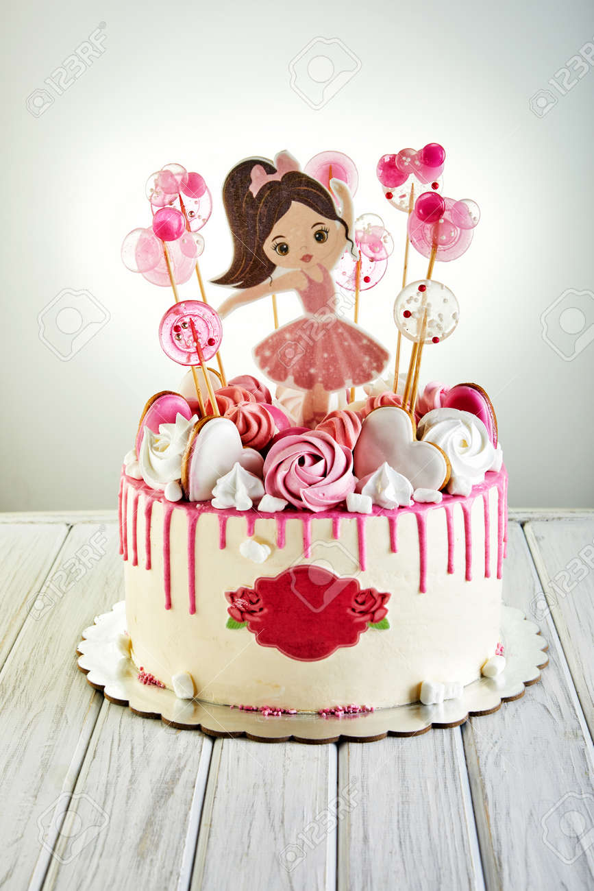 Fine Birthday Cake For A Girl With A Ballerina And Lollipops On High Birthday Cards Printable Inklcafe Filternl
