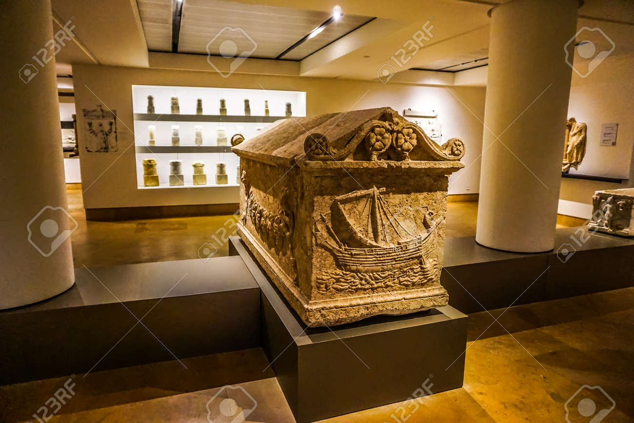 Beirut National Archeological Artifacts Museum Stone Coffin with