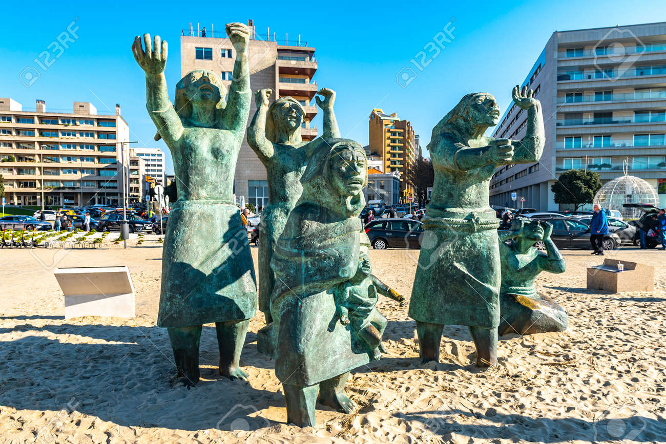 Porto Tragedia do Mar Sea Tragedy Monument Picturesque View on a Sunny Blue Sky Day - 138404774