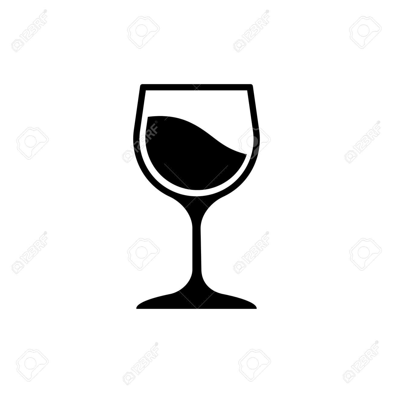Glass of wine icon logo design black symbol isolated on white background. Vector EPS 10 - 145281789