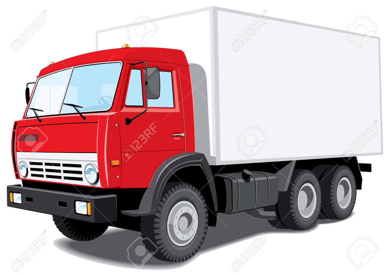 isolated red truck without gradients Stock Vector - 11904914
