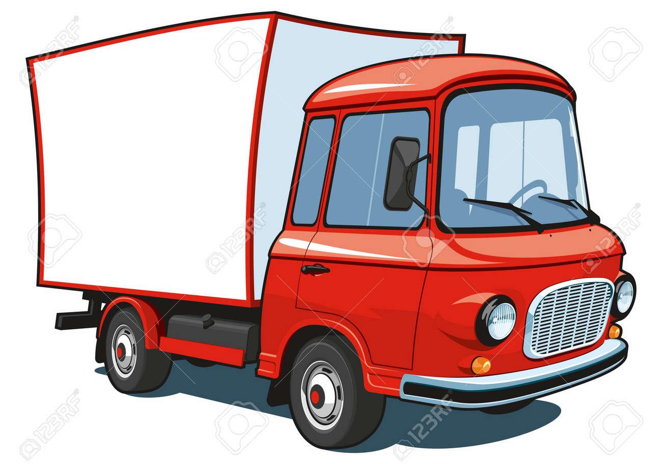 Camion Commerciale De Dessin Animé Isolé Vecteur Rouge