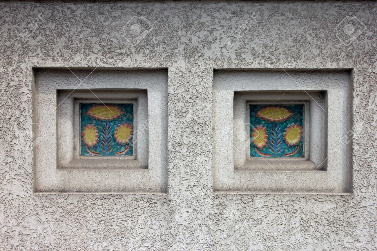 Niches With Decorative Inserts Of Ceramic Tile On White Plastered