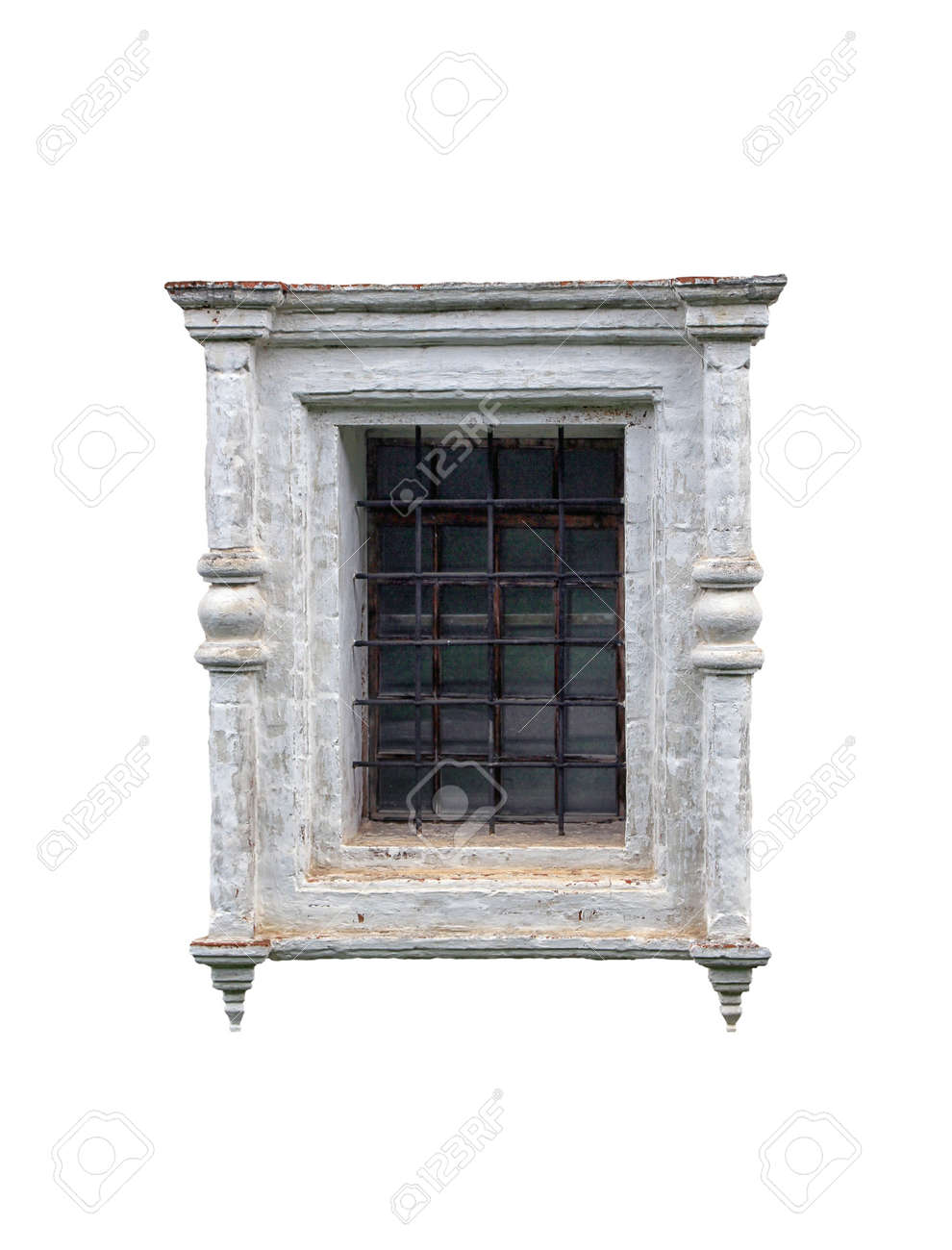 White Plaster Block Window Frame With Bars In Old Russian Style ...