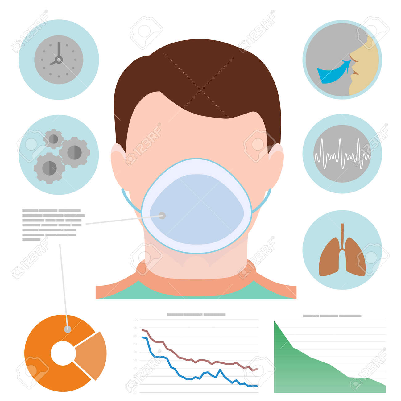 Respiratory infographic man in respiratory mask icons with respiratory infographic man in respiratory mask icons with lungs easy breathing clock ccuart Images