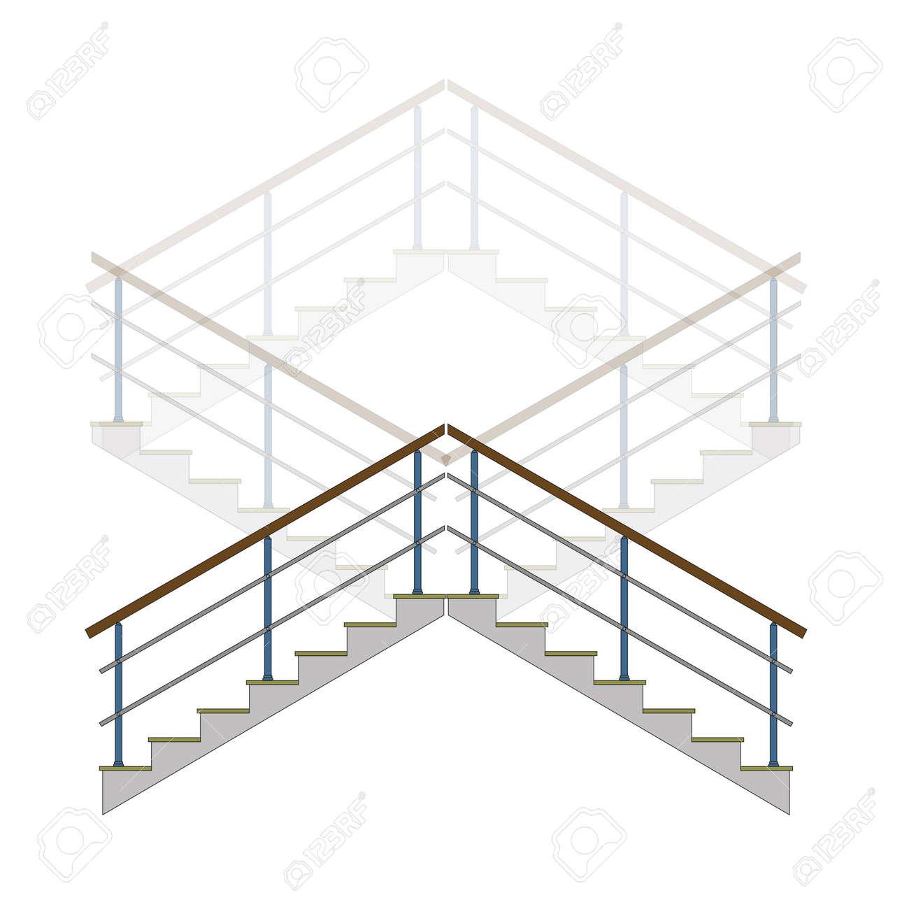 escalera con pasamanos escaleras escalera en vector foto de archivo