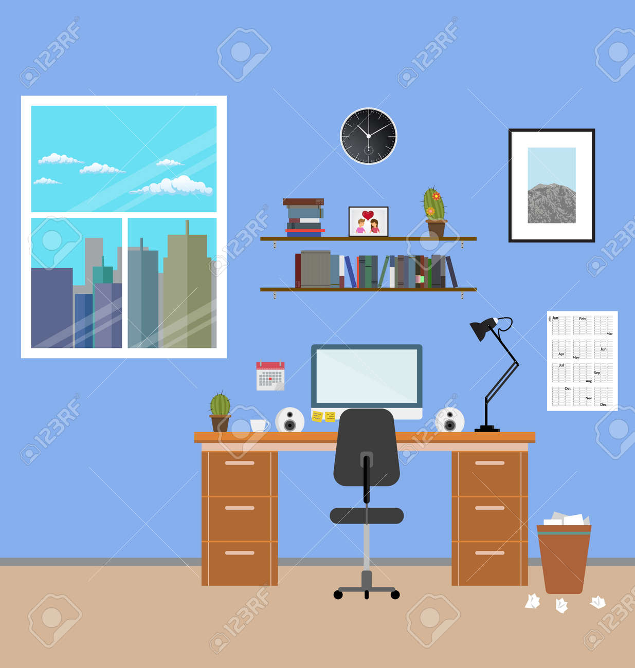 cozy modern workplace near the window in room flat style creative office stock cozy interior e19 interior