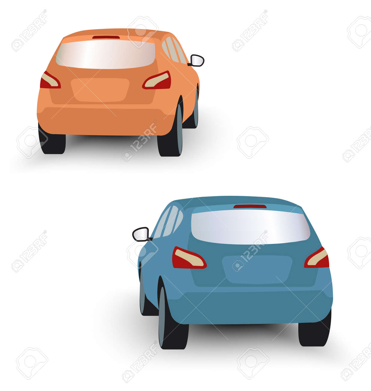 Back of hatchback cars orange and blue in vector on white background - 54768959