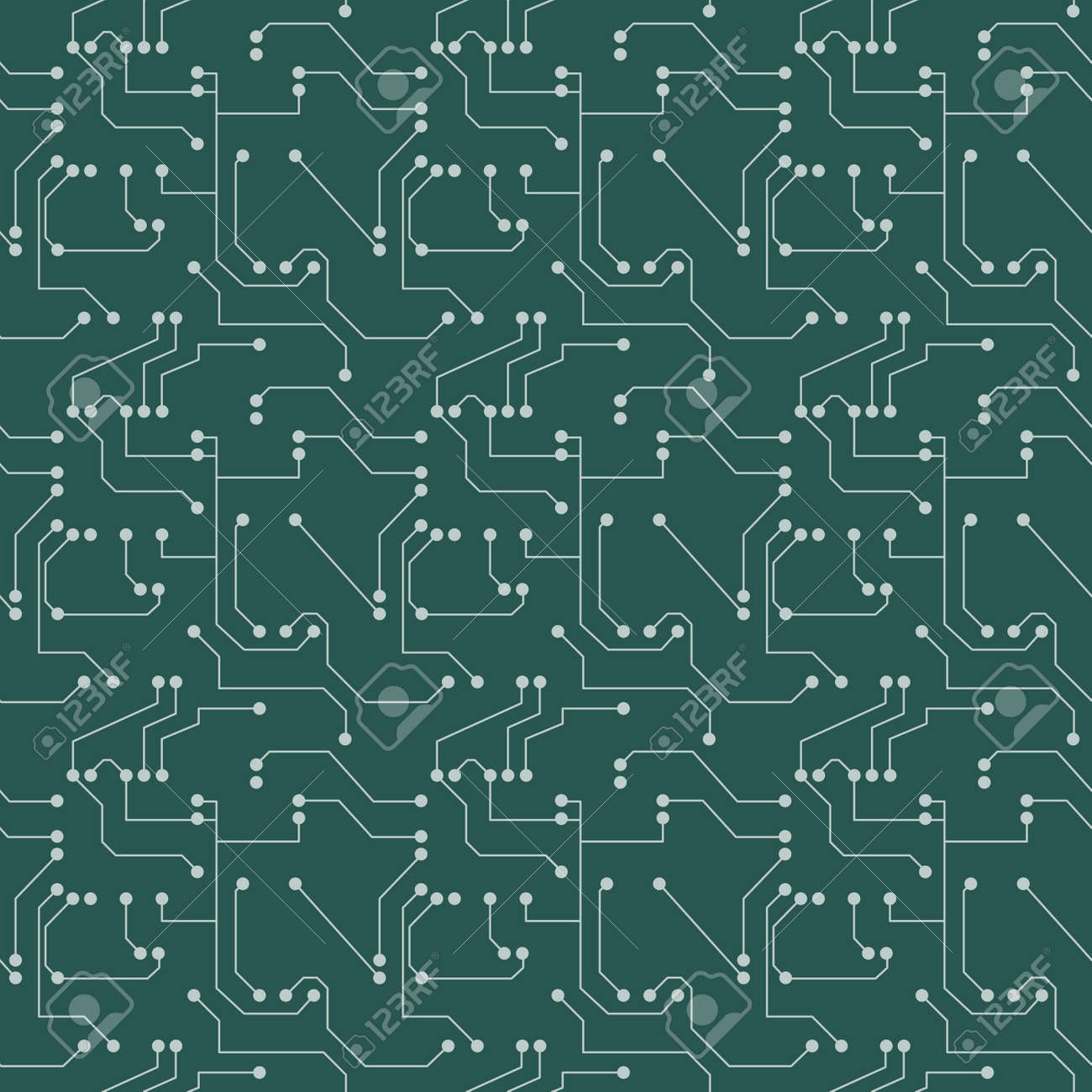 Seamless pattern. Computer circuit board or microchip background