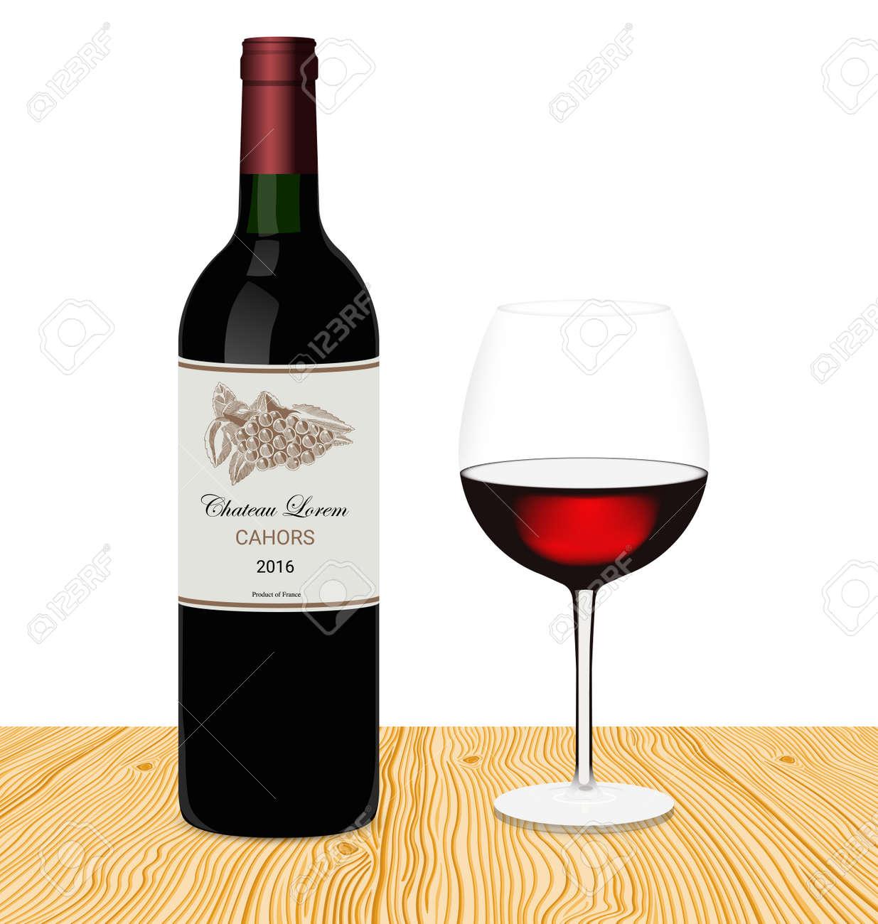 Vorlage Der Flasche Rotwein Mit Glas In Einem Realistischen Stil ...