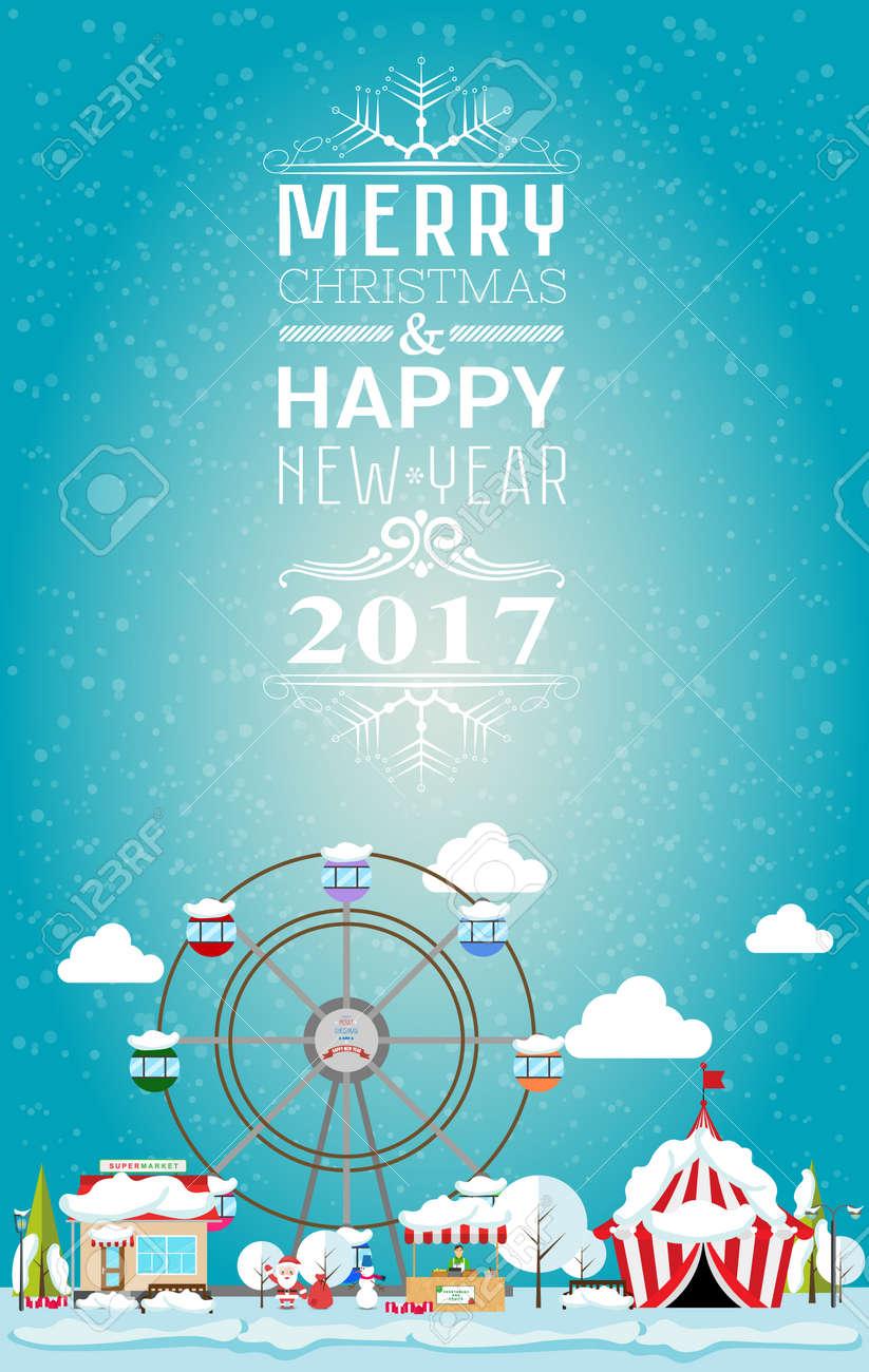 Tarjeta De Invitación Feliz Navidad Y Feliz Año Nuevo De 2017 Por Justa Ilustración Vectorial De Estilo Plano Puesto En El Mercado Circo
