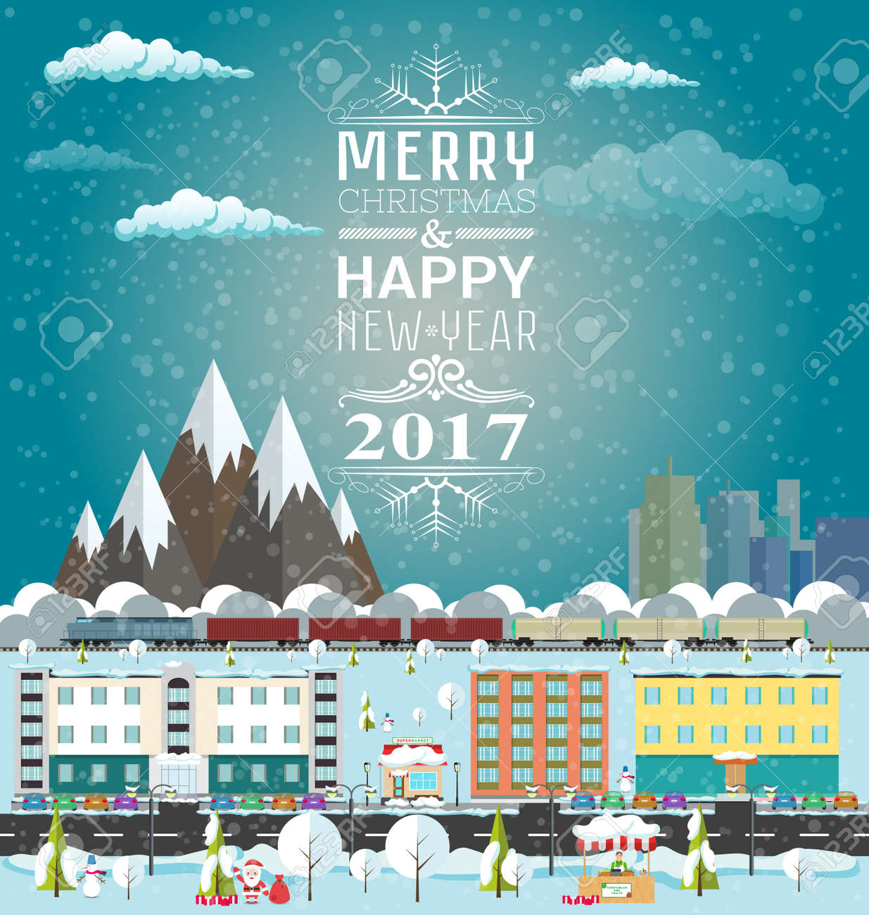 invitation or winter s card merry christmas and happy new year