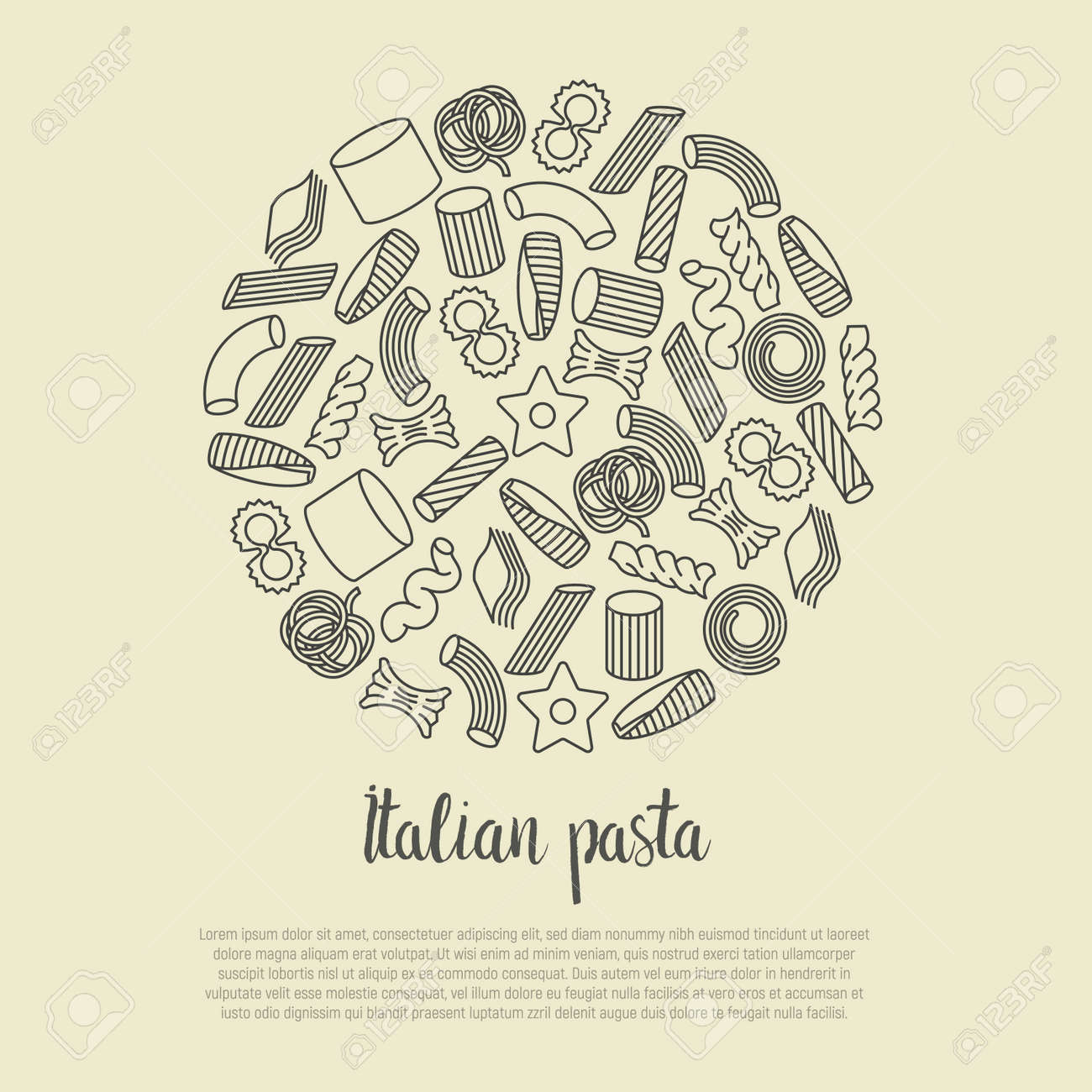 different types of italian pasta concept for menu background