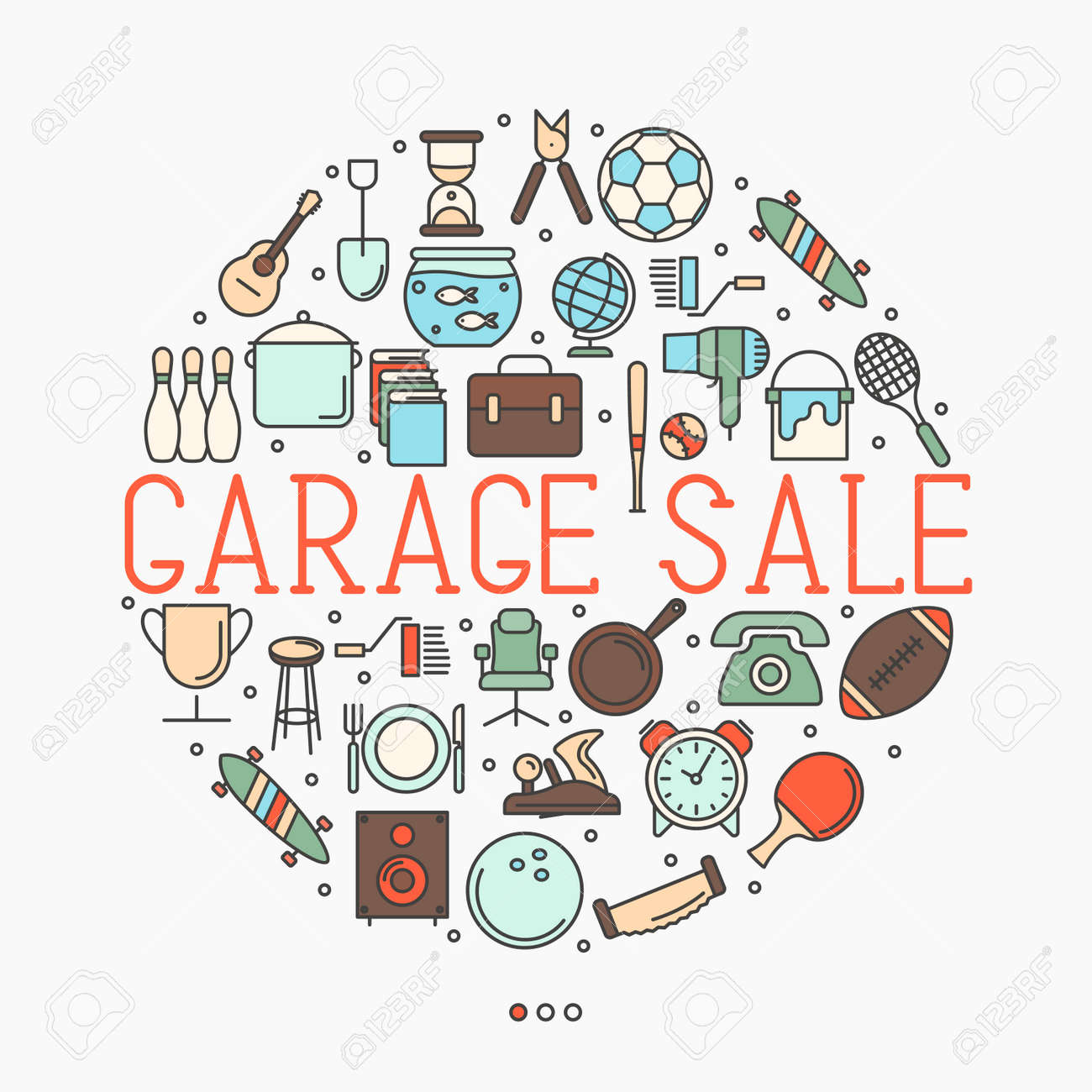 Garage sale or flea market concept in circle with text inside. Thin line vector illustration. - 80348026