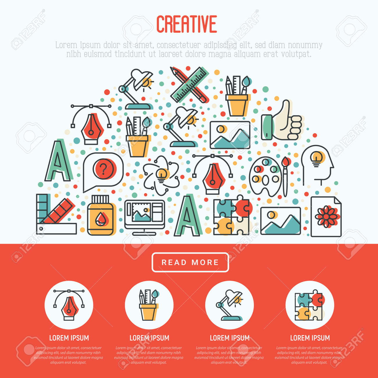 Creative Concept In Half Circle With Thin Line Icons Of Idea Royalty Free Cliparts Vectors And Stock Illustration Image 100953579