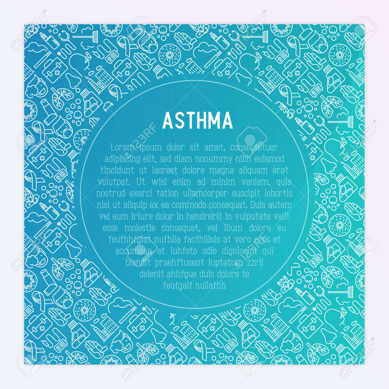 World asthma day concept with thin line icons: air pollution, smoking, respirator, therapist, inhaler, bronchi, allergy symptoms and allergens. Vector illustration for banner, web page, print media. - 101139052