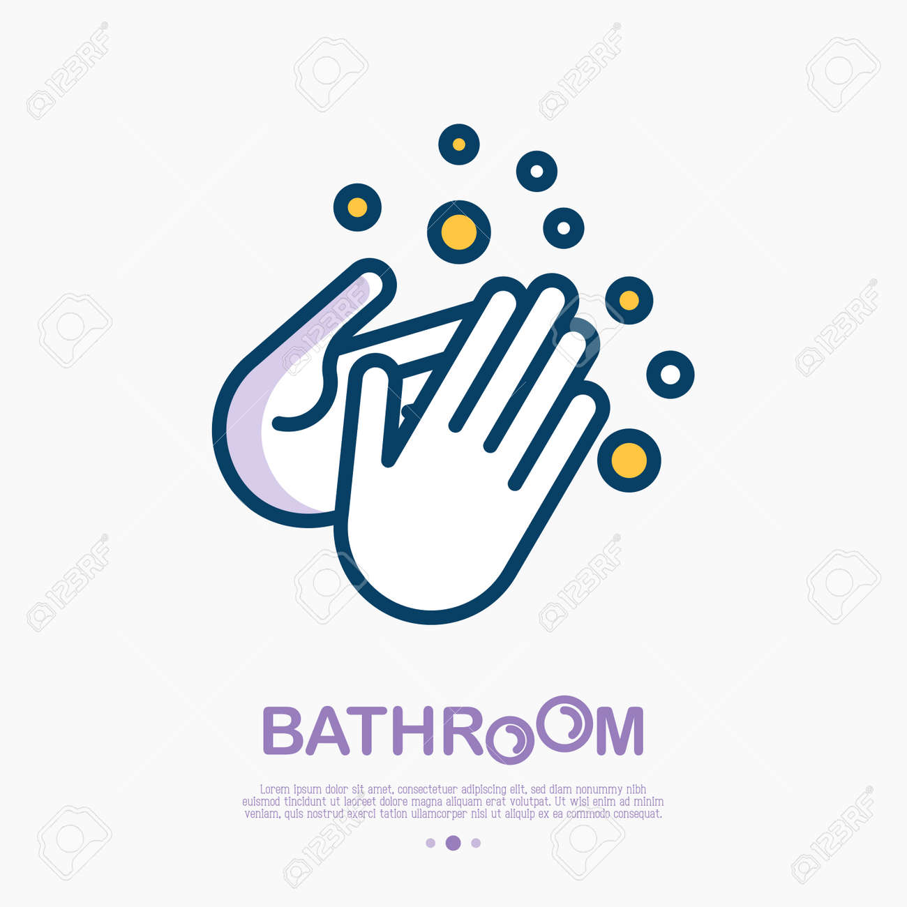 Wash your hands with soap thin line icon. Vector illustration of disinfection and hygiene for health. - 101671831