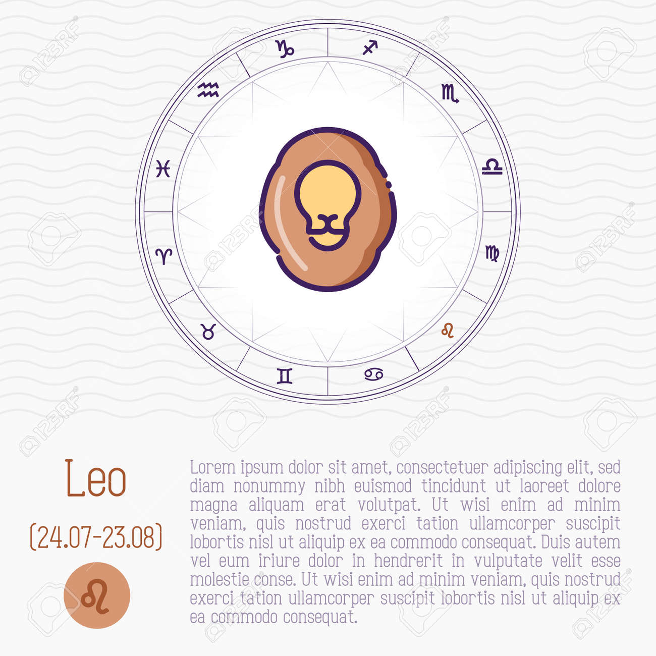 Leo In Zodiac Wheel Horoscope Chart With Place For Text Thin