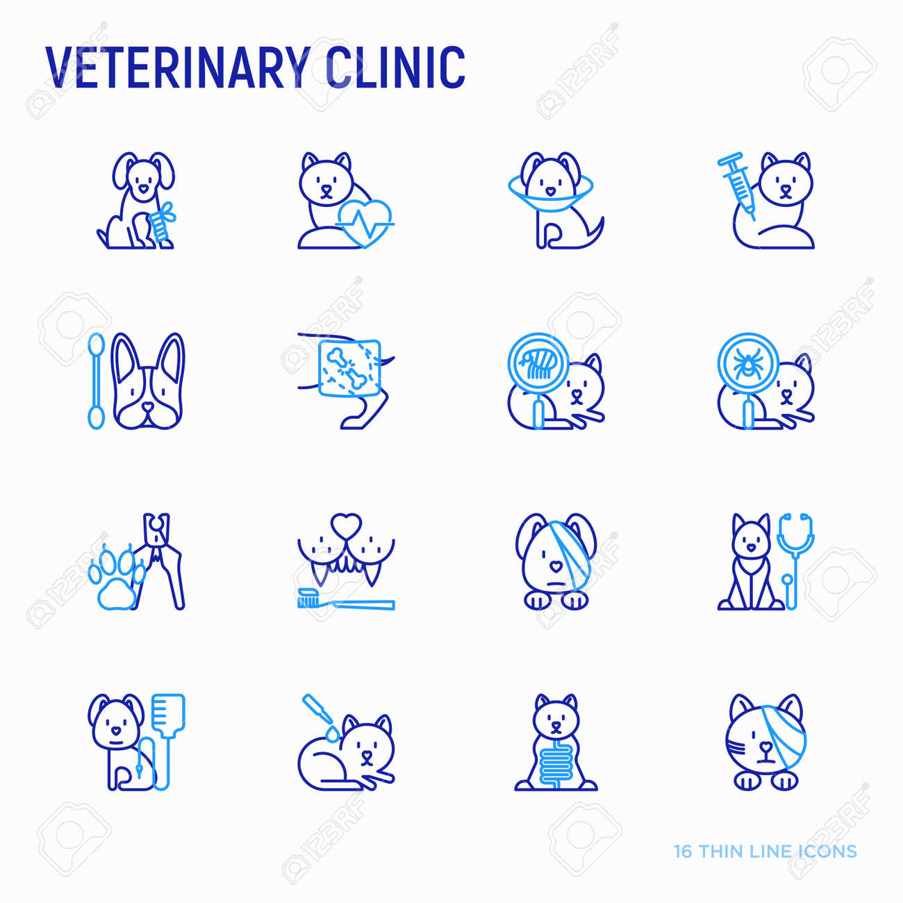 Veterinary clinic thin line icons set: broken leg, protective collar, injection, cardiology, cleaning of ears, teeth, shearing claws, bandage on eye, blood transfusion for dog. Vector illustration. - 112364942