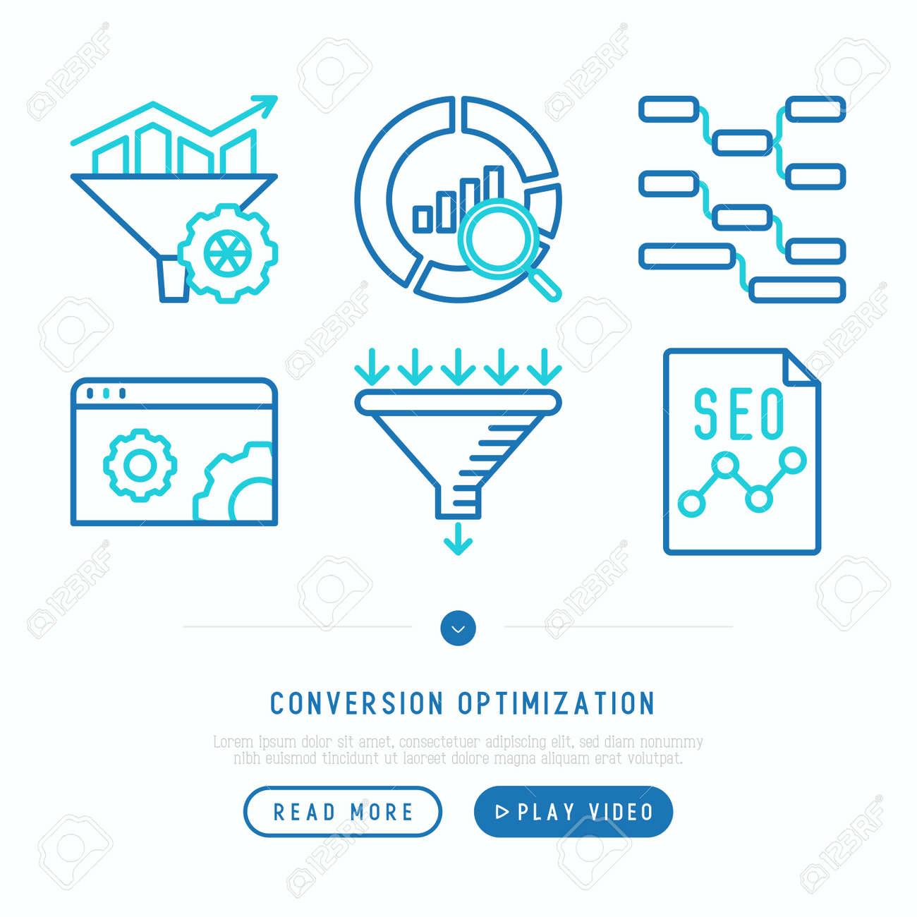 Conversion optimization thin line icons set: marketing, customer management, SEO technology, website promotion, visitors, sales funnel, web traffic. Modern vector illustration. - 112103965