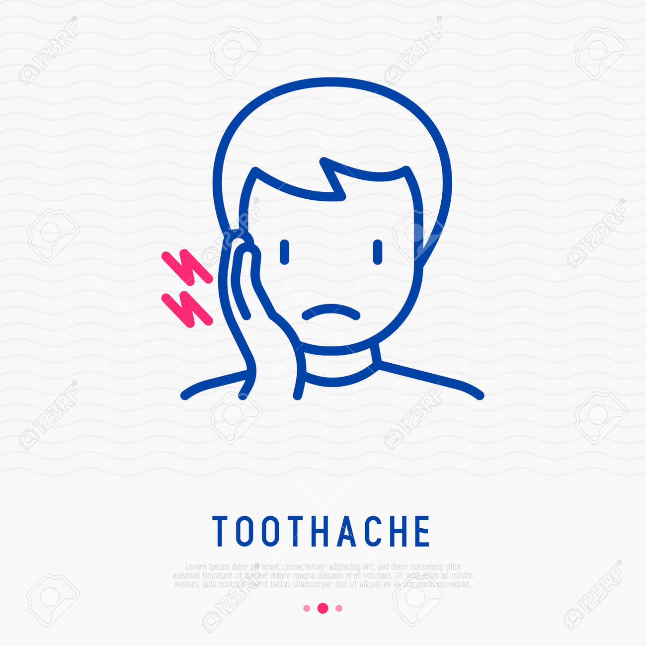 Man with toothache thin line icon. Modern vector illustration. - 106762194