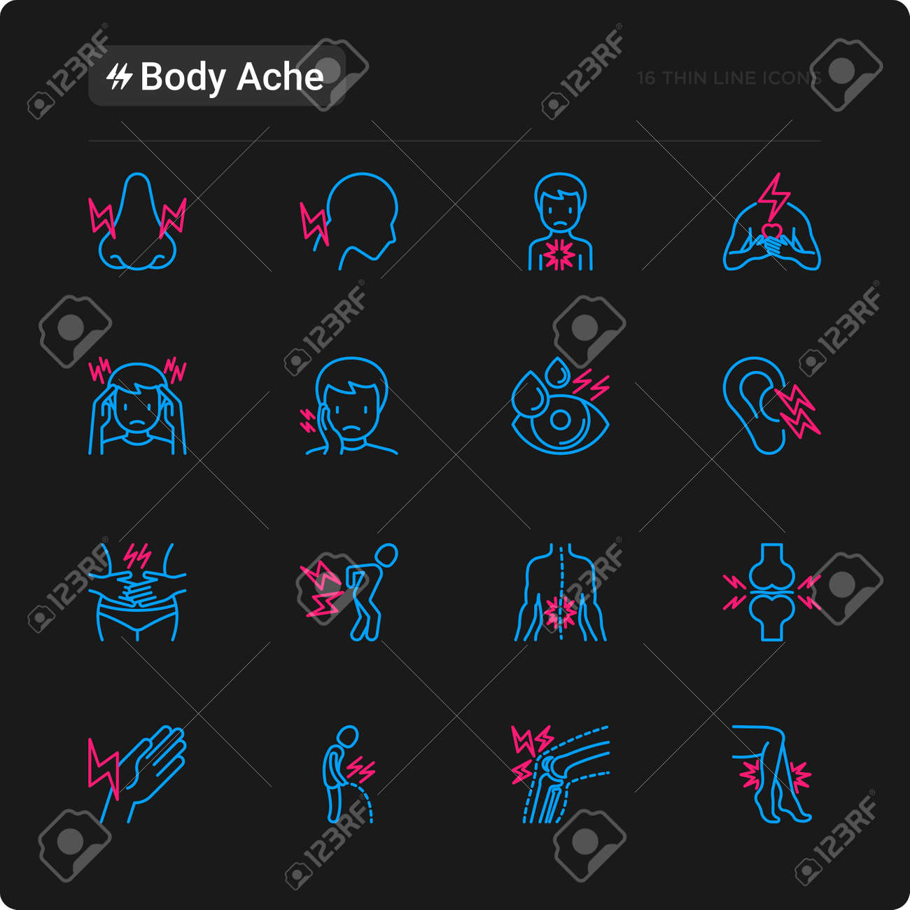 body aches thin line icons set: migraine, toothache, pain in eyes, ear