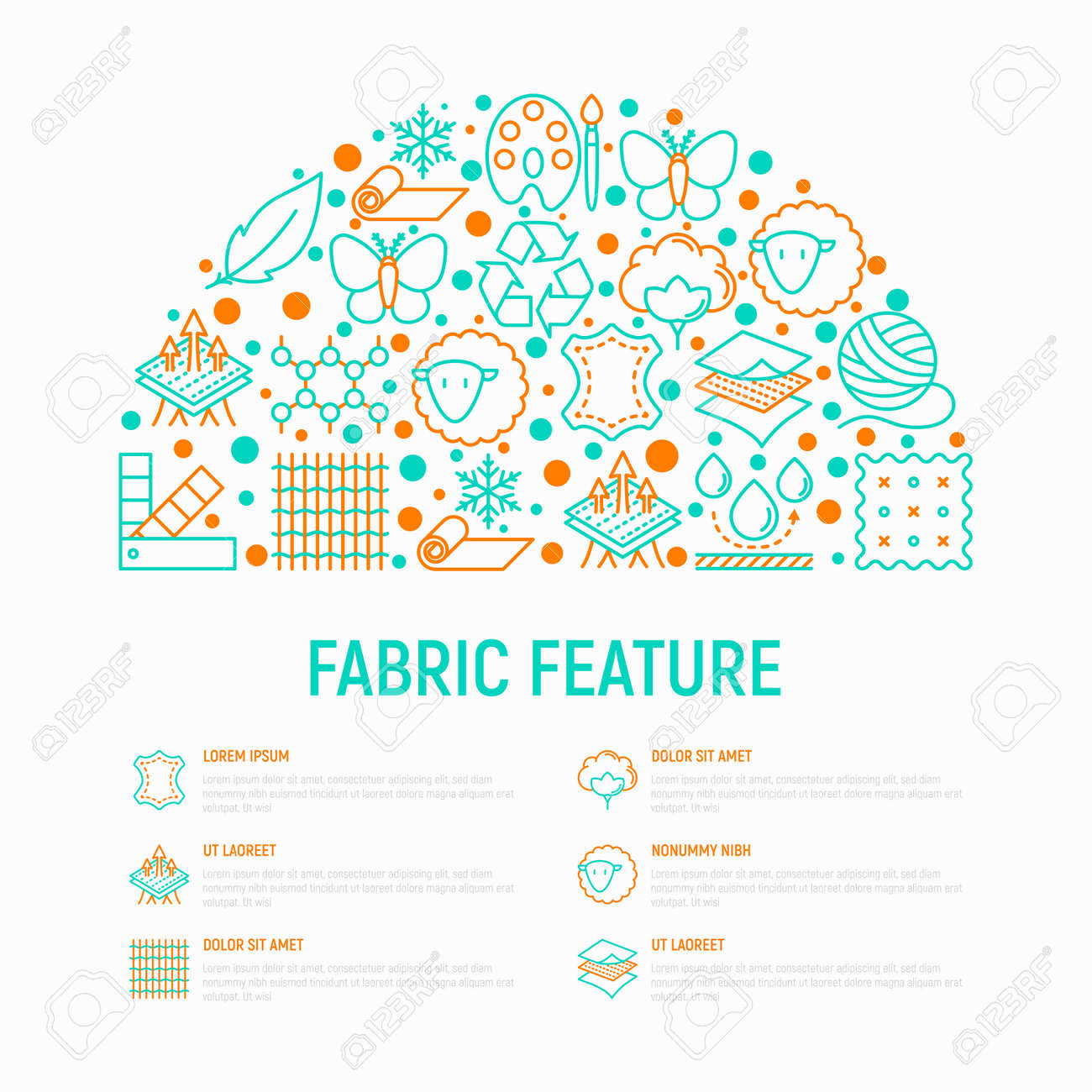 Fabric feature concept in half circle with thin line icons: leather, textile, cotton, wool, waterproof, acrylic, silk, eco-friendly material, breathable. Modern vector illustration, web page template - 109889344
