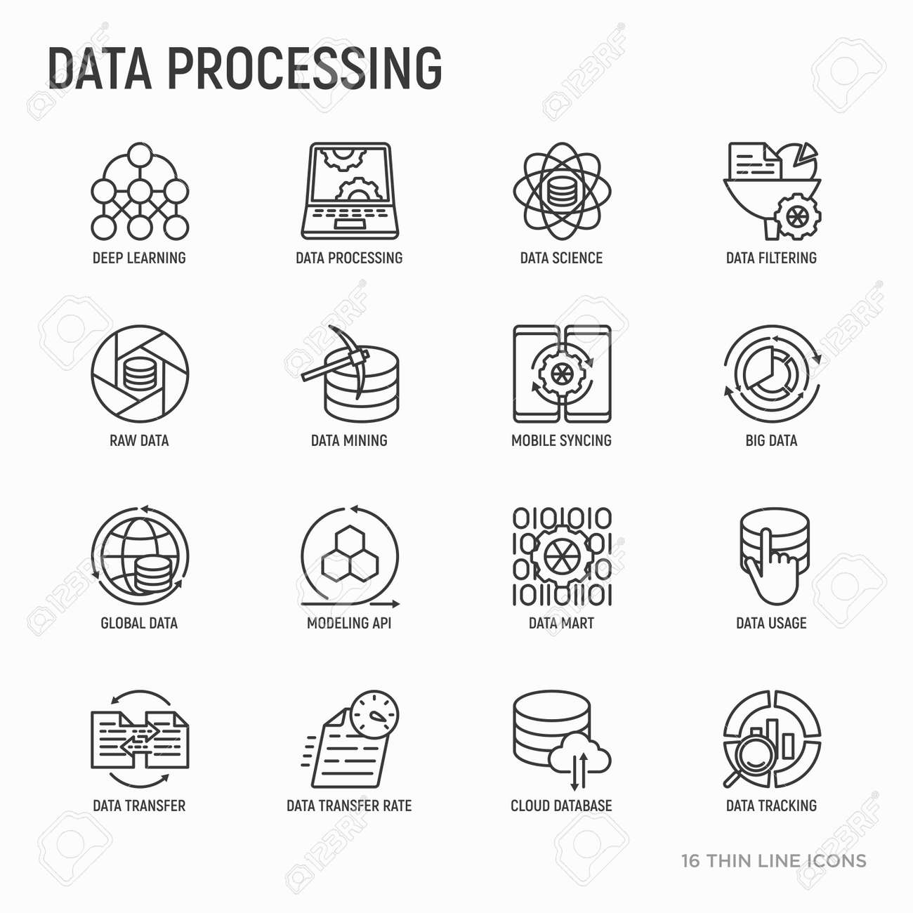 Data processing thin line icons set: data science, filtering,