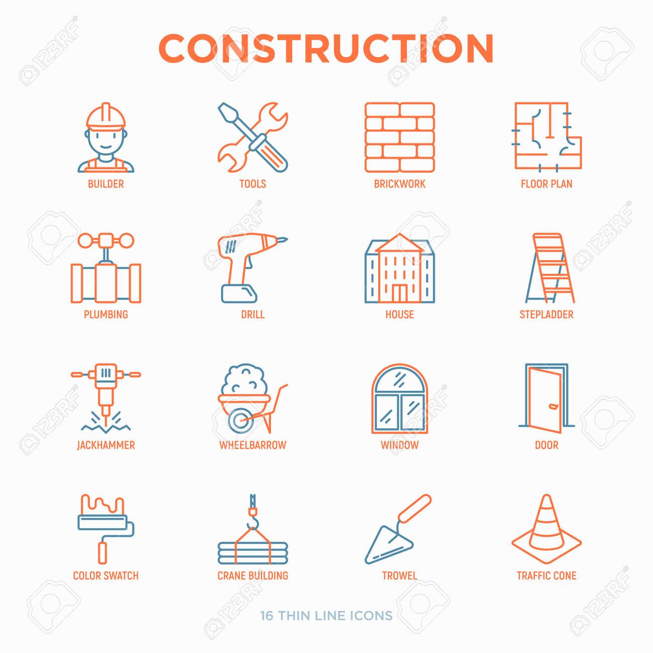 Construction thin line icons set: builder in helmet, work tools, brickwork, floor plan, plumbing, drill, trowel, traffic cone, building, stepladder, jackhammer, wheelbarrow. Vector illustration. - 128881303