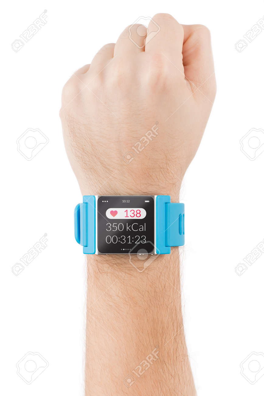 Male hand with smart watch with heart beat on the screen is raised to the sky Stock Photo - 26618277