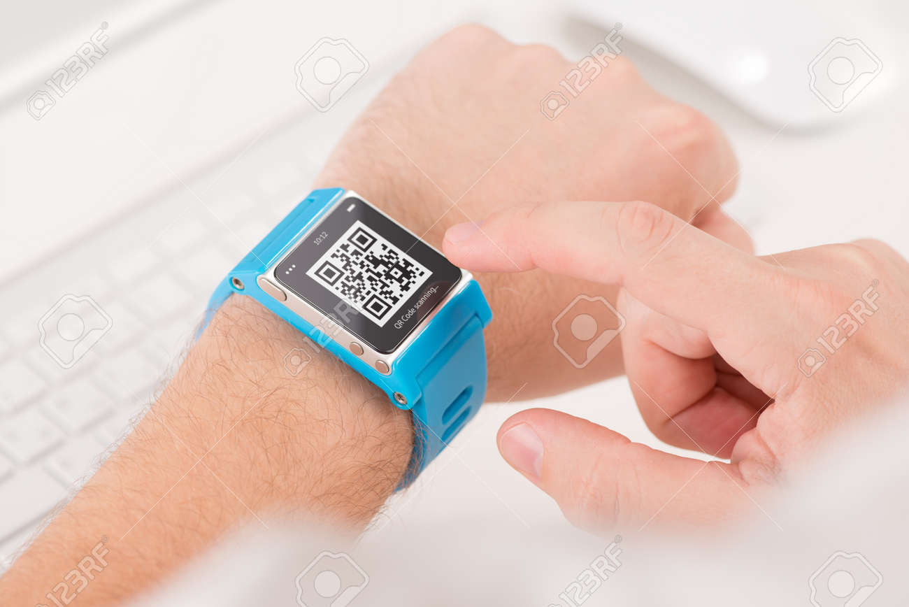 Man Is Scanning Quick Response Code With Blue Smart Watch Stock ...