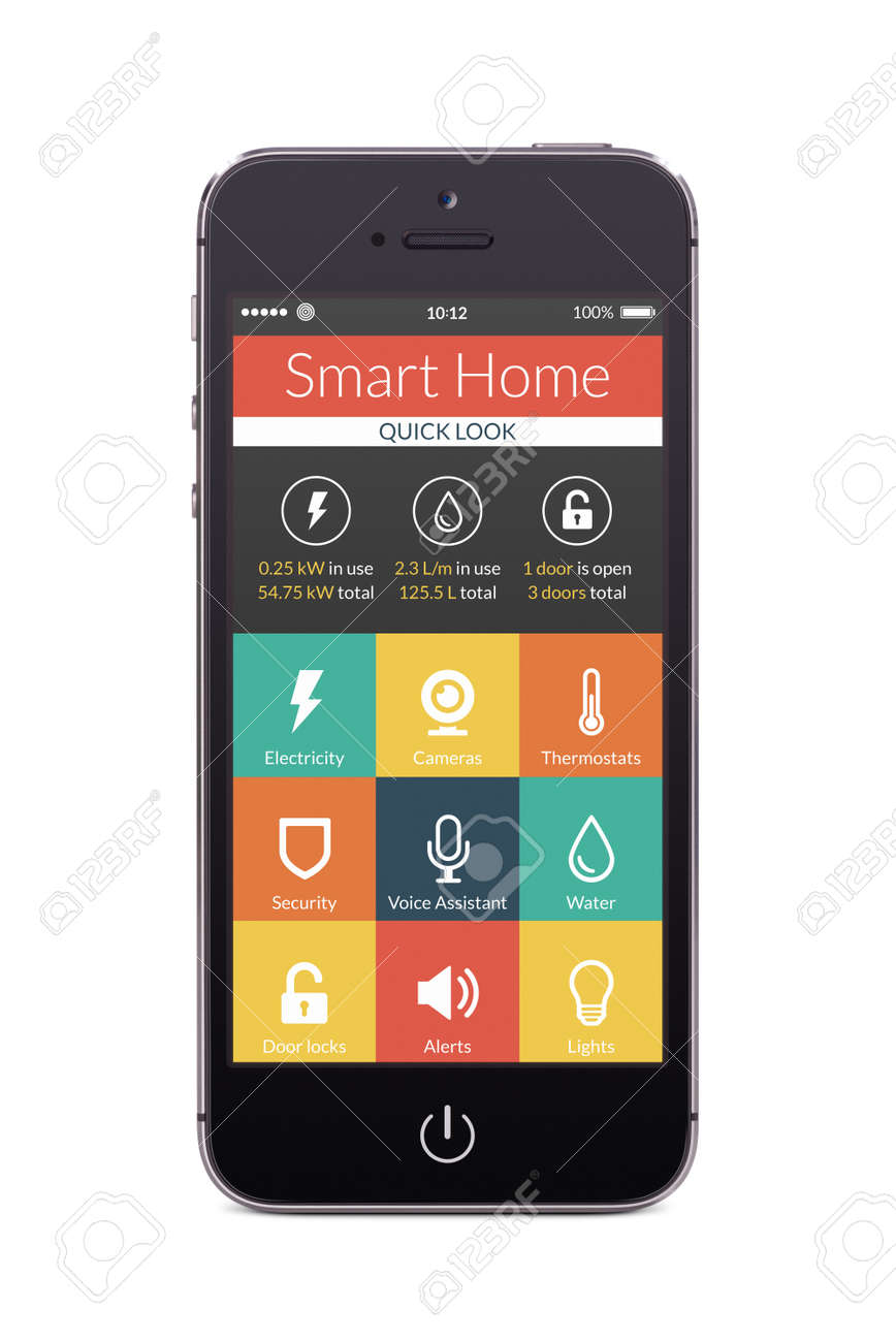 directly front view of black smart phone with flat design smart home application on the screenfemale hand holding black mobile smart phone with smart home. Interior Design Ideas. Home Design Ideas