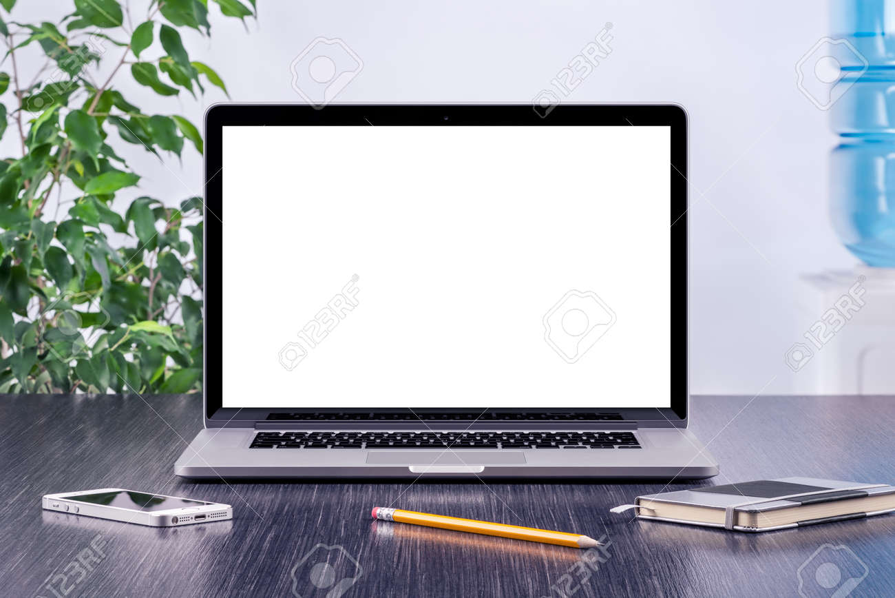 Laptop Computer Mockup With Blank Screen On Office Wooden Desk ...
