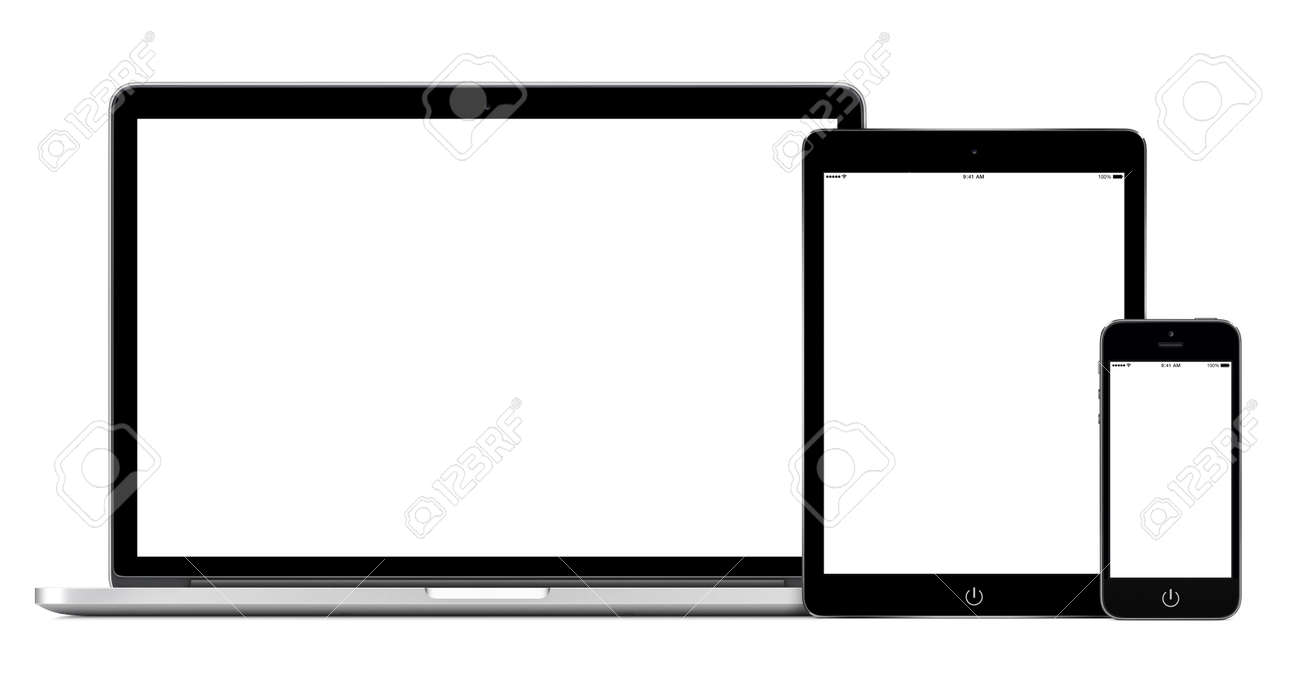 Set of modern gadgets includes laptop, digital tablet and smartphone mockup with empty white screen for responsive design presentation. All gadgets in focus. High quality. Isolated on white background. - 41678444