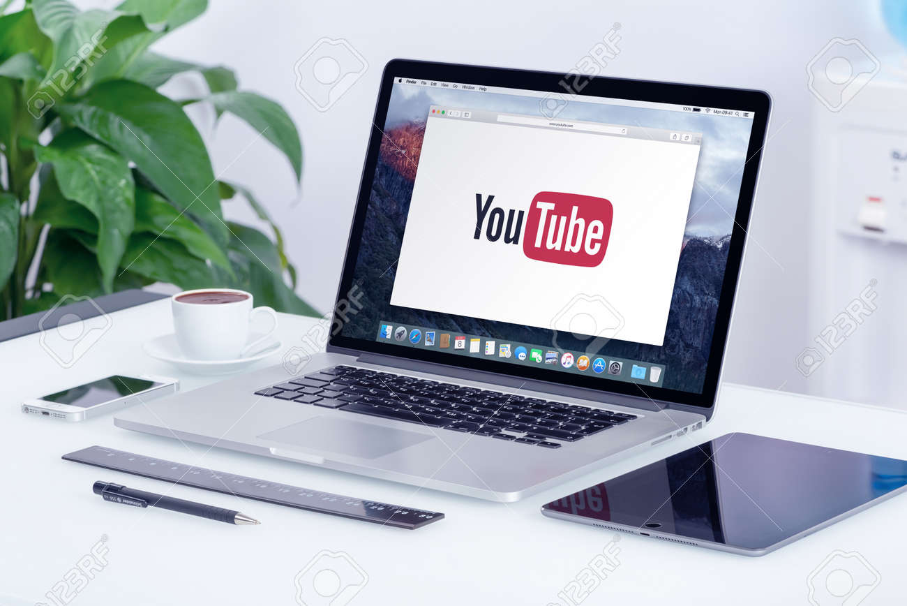 YouTube logo on the Apple MacBook Pro Retina display. YouTube presentation concept. YouTube is a video-sharing website allows users to upload, view, and share videos. Varna, Bulgaria - May 29, 2015. - 43260187