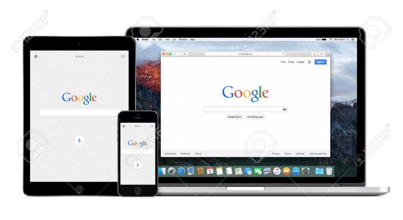 Google Application Sur Lapple Iphone Et Ipad Air 5s 2 écrans Et De Bureau Version De Recherche Google Sur Lécran Pro Retina Dapple Macbook Isolé