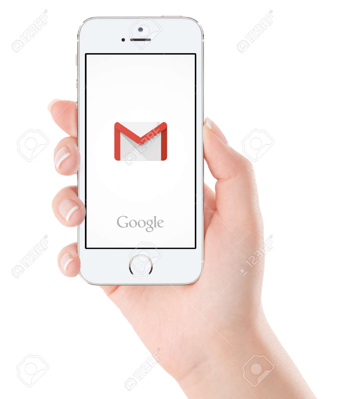 Varna, Bulgaria - February 02, 2015: Google Gmail application logo on the white Apple iPhone 5s display in female hand. Gmail is a free e-mail service provided by Google. Isolated on white background. - 49200370