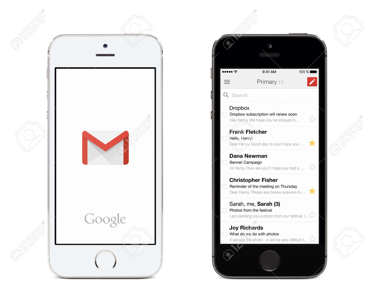 Varna, Bulgaria - May 26, 2015: Google Gmail app logo and Gmail inbox on the front view white and black Apple iPhones. Gmail is a free e-mail service provided by Google. Isolated on white background. - 49200372