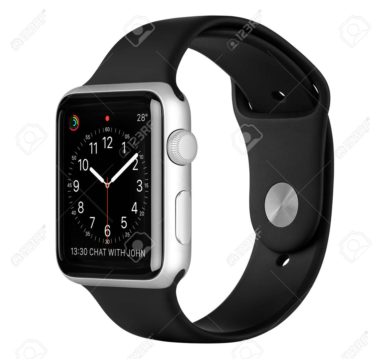 Varna, Bulgaria - October 16, 2015: Apple Watch Sport 42mm Silver Aluminum Case with Black Sport Band with clock face on the display. Side view studio shot fully in focus. Isolated on white background. - 49200379