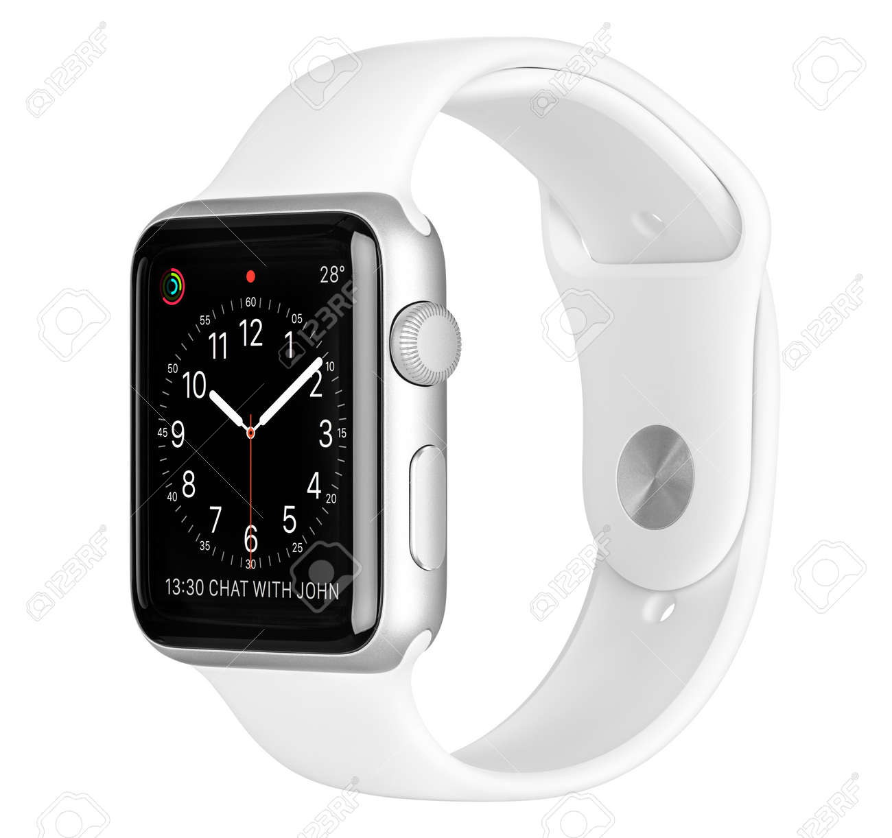 Varna, Bulgaria - October 16, 2015: Apple Watch Sport 42mm Silver Aluminum Case with White Sport Band with clock face on the display. Side view studio shot fully in focus. Isolated on white background. - 49200380