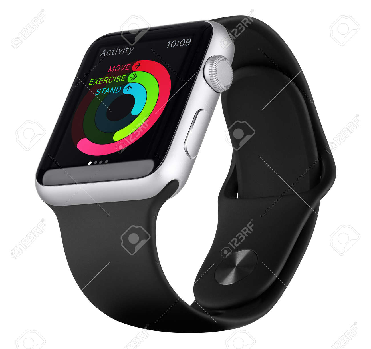 Varna, Bulgaria - October 18, 2015: Apple Watch Sport 42mm Silver Aluminum Case with Black Sport Band with activity app on the display. Bottom up view fully in focus. Isolated on white background. - 51147170