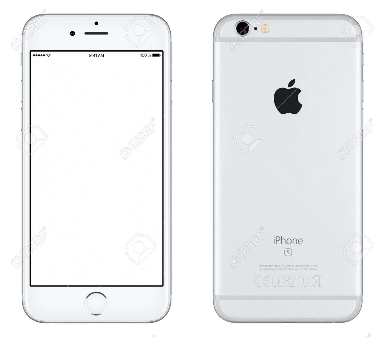 Varna, Bulgaria - October 24, 2015: Front view of Silver Apple iPhone 6S mockup with white screen and back side with Apple Inc logo. Isolated on white. - 51147174