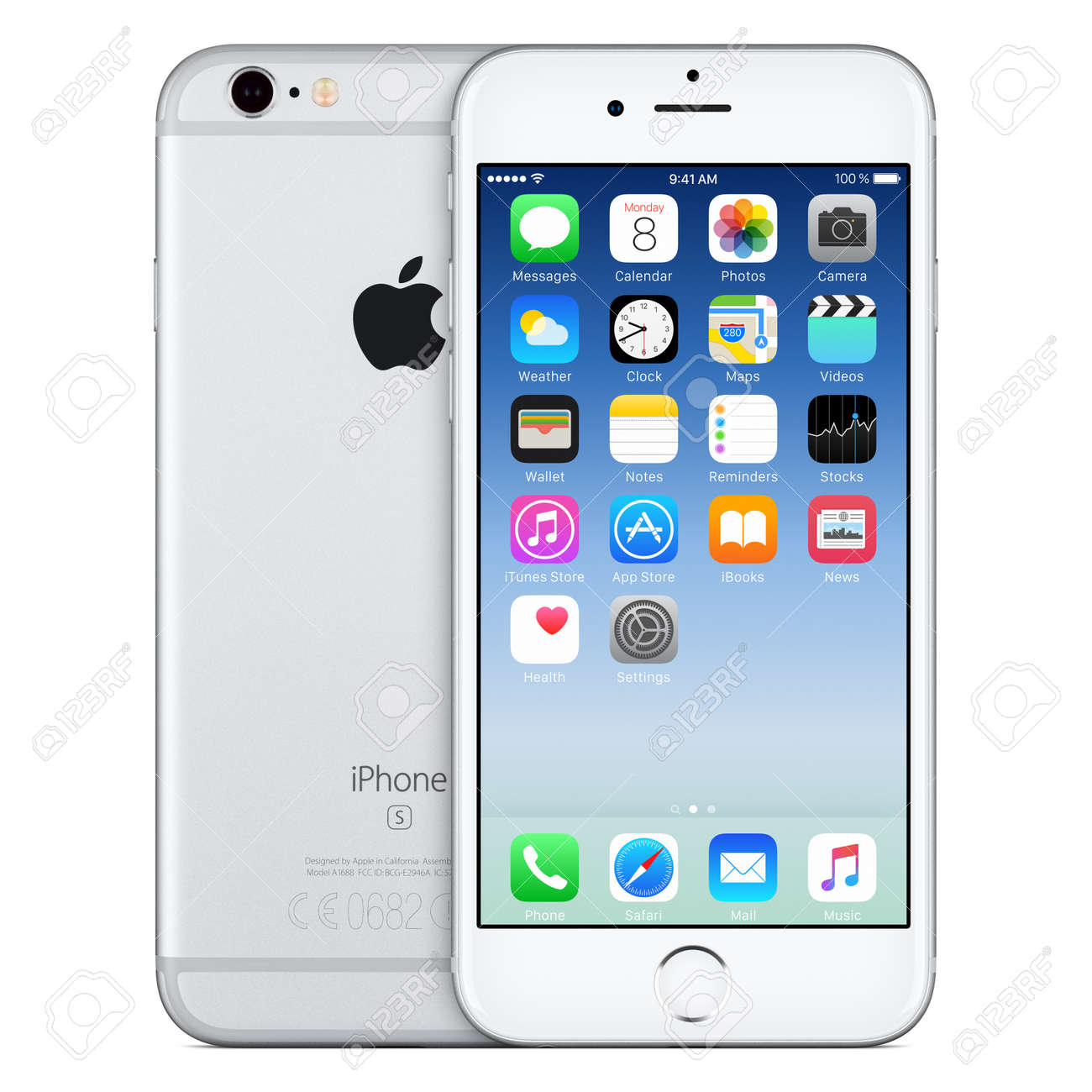 Varna, Bulgaria - October 24, 2015: Front view of Silver Apple iPhone 6S with iOS 9 mobile operating system and back side with Apple Inc logo. Isolated on white. - 51147178