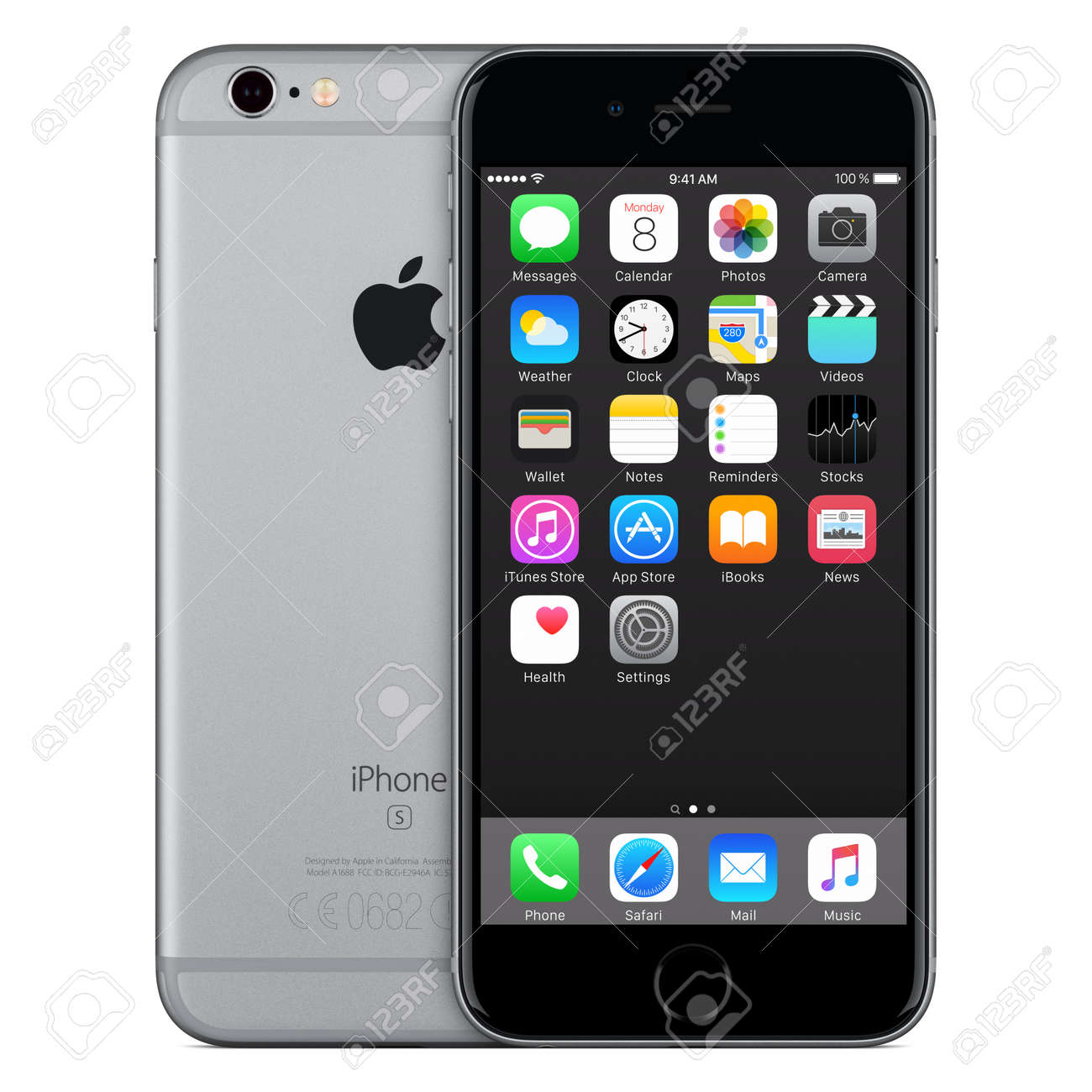 Varna, Bulgaria - October 24, 2015: Front view of Space Gray Apple iPhone 6S with iOS 9 mobile operating system and back side with Apple Inc logo. Isolated on white. - 51147179